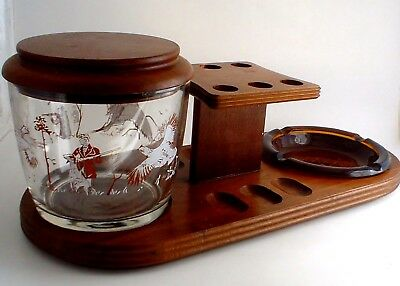 Vintage Wooden Pipe Rest Ashtray Humidor Duck and Pheasant Hunting Motif 6 pipe