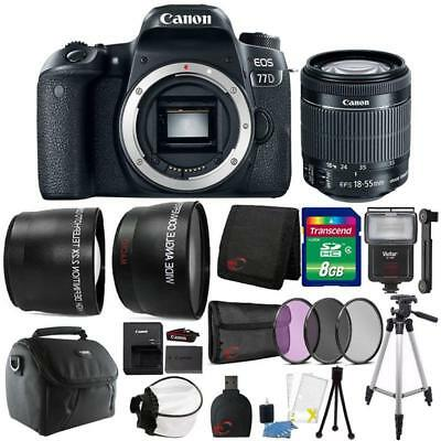Canon EOS 77D 24.2MP Digital SLR Camera with 18-55mm Lens and Accessory Bundle