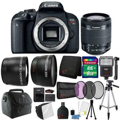 Canon EOS Rebel T7i DSLR Camera w/ 18-55mm Lens , Slave Flash & Accessories