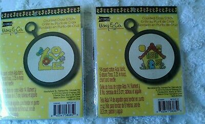 "Mary Engelbreit Counted Cross-Stitch Picture Kits, round 3.25"", NIP"