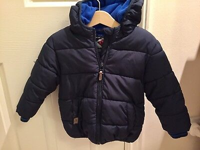 Baby Boy Next Navy Hooded Coat Age 12-18 Months