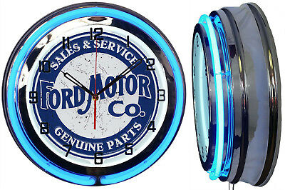 """Ford Motor Co. Sales & Service Genuine Parts 19"""" Double Neon Clock Chrome Finish"""