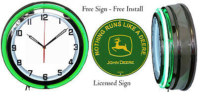 """19"""" Neon Clock with FREE John Deere Tractor Sign Yellow or Green Neon"""