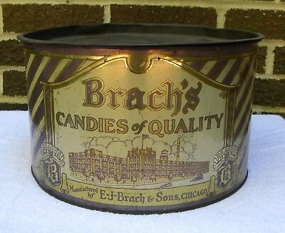Large Vintage BRACH'S Candy Advertising Tin Can-not marshmallows
