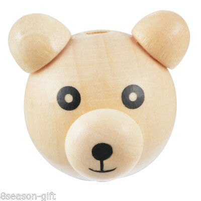 5PCs Lovely Natural Color Ear& Nose Little Bear Wooden B103269 2.6x2.9cm
