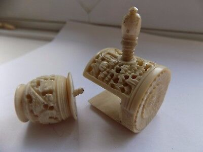 Antique Hand Carved Chinese Pin Cushion Sewing Clamp & Thread Reel