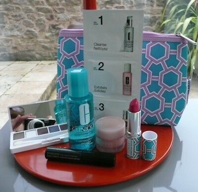 CLINIQUE Bonus Time - 5 large items & 3 small sachet items in Cosmetic Bag NEW