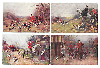 HUNTING x 7 - OLD POSTCARDS - FOX HUNTING - HOUNDS  - 7 CARDS