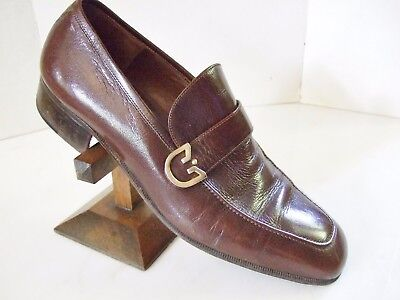 Authentic Gucci vintage Men's Shoes Brown Leather Loafers Gucci Logo Strap