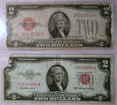 Lot of 2 - United States $2 Notes 1928G & 1953* STAR Red Seal, poor condition