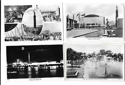 FESTIVAL OF BRITAIN 1951 x 9 CARDS - SOUTH BANK EXHIB - OLD RP PCs  LONDON 9