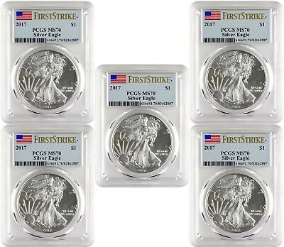 2017 $1 American Silver Eagle PCGS MS70 First Strike Blue Flag Label - Lot of 5