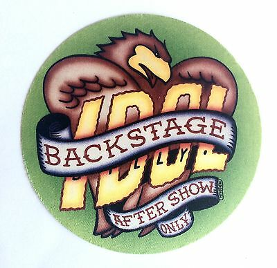 Billy Idol Backstage Satin Stickie Pass. Good Condition. Aftershow Only Pass.