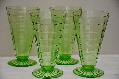 """Set of (4) - 5 7/8"""" Anchor Hocking Green Block Optic Footed Tumblers"""