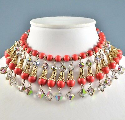 Vintage Necklace 1960s Red Lucite Crystal Fringe Drop Goldtone Bridal Jewellery