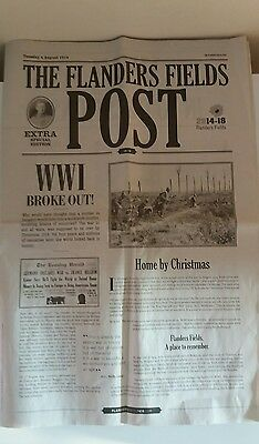 Flanders Field Post Newspaper Reproduction Extra Special Edition 4 August 1914