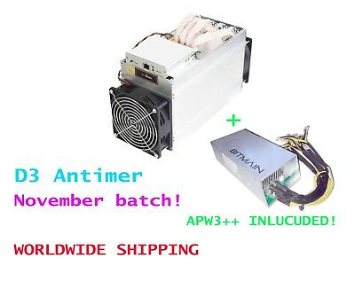Antminer D3 with APW3++ 15GH/s X11 Dash -Batch: Nov - New/Sealed