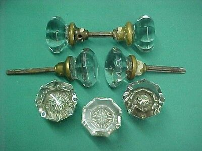 Lot of 7 Antique Victorian Vintage Glass Door Knobs Octagon 8 Point Star Centers
