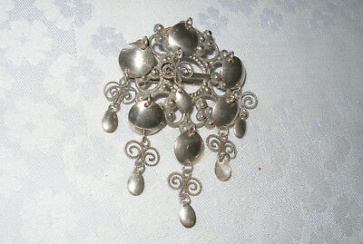 Superbe Broche Ancienne Norway Solje Brooch Mariage Argent Massif 830 Sterling