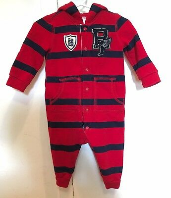 Ralph Lauren Baby Boys Infant Navy Red Striped Fleece Hooded Coverall 6 Month