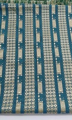 Silk Brocade Fabric Turquoise Gold Weaving Elephant woven Fringe 2 yds 42x72
