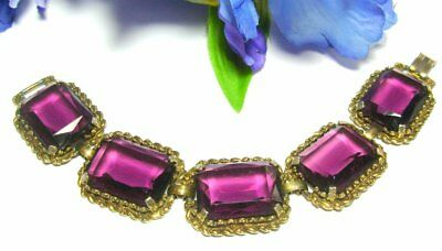 VTg  RARE STUNNING JULIANA? PURPLE large RHINESTONES GLASS BRACELET