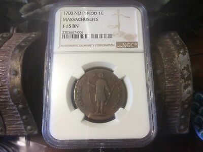 1788 MASSACHUSETTS 1 Cent , No Period  NGC F15 BN @@ must see @@