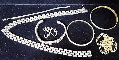 STERLING SILVER Jewelry Lot 112g Necklaces and Bracelets (#7)