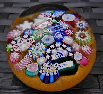 Perthshire John Deacons Lemon End Of Day Rose Canes Millefiori Paperweight