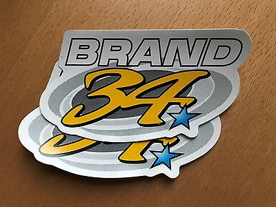 New Genuine Brand 34 Kevin Schwantz Stickers (Set Of Two)