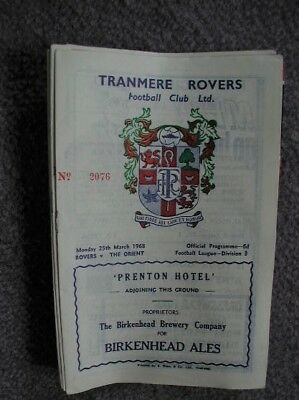 Tranmere Rovers v Orient Programme 25th March 1968.