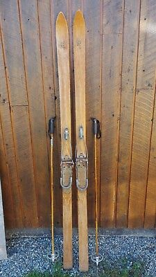 "VINTAGE HICKORY Wooden 83"" Skis Has BEAUTIFUL Wood Patina Finish + Poles"