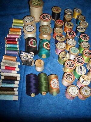 SEWING COTTON REELS,VINTAGE,43 wooden spools, 23 small, good condition,JOB LOT.