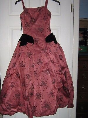 True Vintage FRANK USHER full circle DRESS Ideal STAGE upcycling 1950s damask