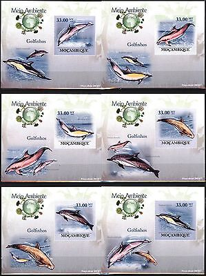 {M18} Mozambique 2010 Dolphins 6 S/S DeLuxe MNH**