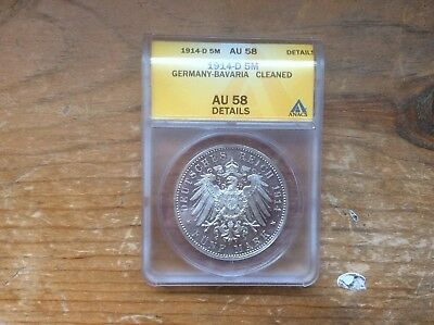 1914-D Bavaria Germany 5 mark silver ANACS AU-58 details @@ must see@@@