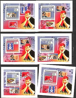 {G25} Guinea 2009 Chess Stamps on Stamps 6 S/S DeLuxe MNH**