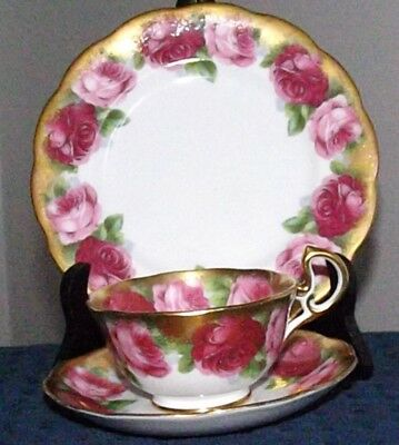Royal Albert Old English Rose Heavy Gilt Massive Roses Cup & Saucer, Plate. TRIO