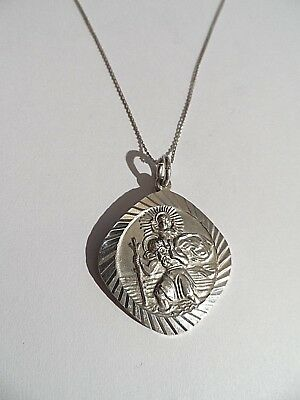 Beautiful Heavy Vintage Solid Silver St Christopher c1978 & Silver Chain-14.7g