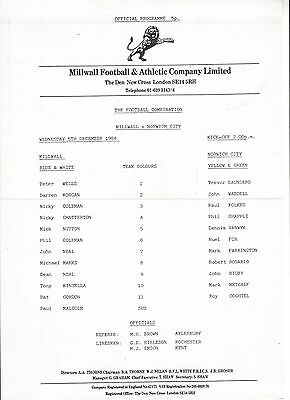 MILLWALL RESERVES v NORWICH CITY 84-5 Football Combination Programme