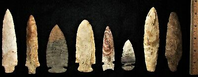 Nice Collection of 8 Higher End Indian Arrowheads - Authentic Indian Artifacts
