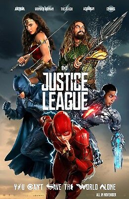 """Justice League (2017) Movie Silk Fabric Poster 11""""x17"""" 24""""x36"""""""