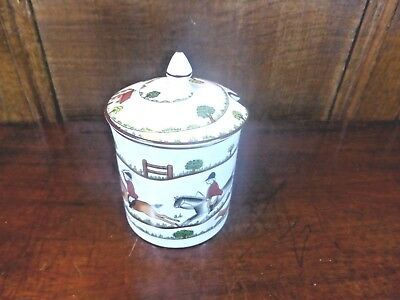 EXCELLENT Crown Staffordshire HUNTING SCENE SUGAR/JAM POT with LID
