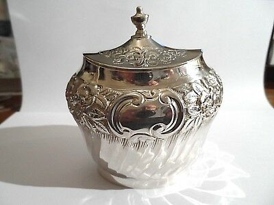 Beautiful Quality Heavy Antique Solid Silver Sugar Bowl c1895-133g