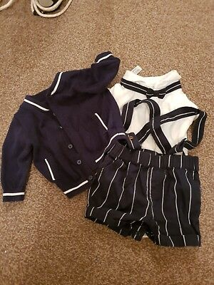 baby boy smart outfit next worn once cardigan navy white 0-3 months occasionwear