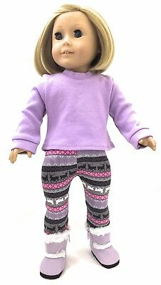 Doll Clothes for 18 inch American Girl- Lavender Top & Reindeer Leggings