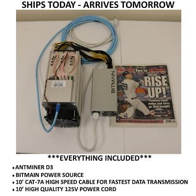 Bitmain Antminer D3 15 GH/s Includes APW3++ Power Supply In NY Bitcoin Miner New