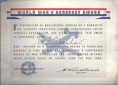 rare WW2 HONOR AWARD June 1944 CONSOLIDATED VULTEE AIRCRAFT PLANT San Diego CA