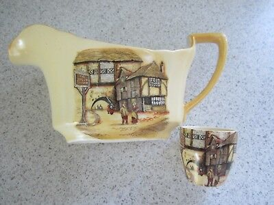 Vintage Jolly Drover Lancaster & Sons Gravy/Sauce Boat & Egg-cup