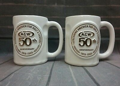 Vintage A&W Root Beer 50th Anniversary 1969,set of 2 mugs